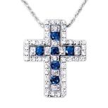 ベルエポック ダイヤモンド&サファイアクロスネックレス K18WG