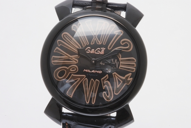 buy online b6e0c a4a82 ガガミラノ 5086.1 マヌアーレ スリム 46mm ブラックPVD