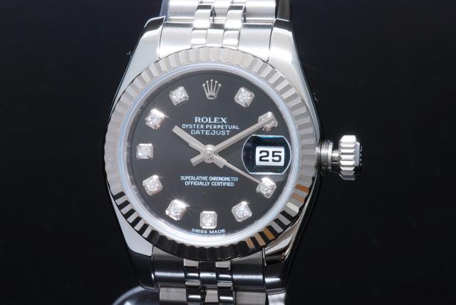 ロレックス デイトジャスト レディース 179174G 10Pダイヤ 黒